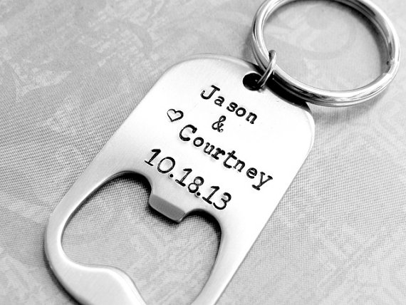 Mariage - Wedding Favor - Personalized Bottle Opener with Names & Date.  Men's Wedding Favor.  Gift For Groomsmen. - New
