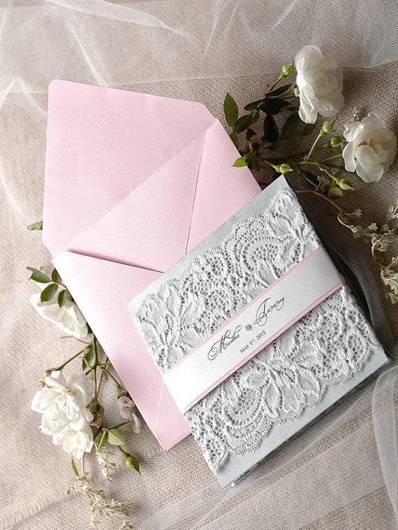 Mariage - Custom Listing (20) Pink Wedding Invitation, Lace  Pink Wedding Invitations , Vintage Pink  Wedding Invitation 4lovepolkadotslkadots - New