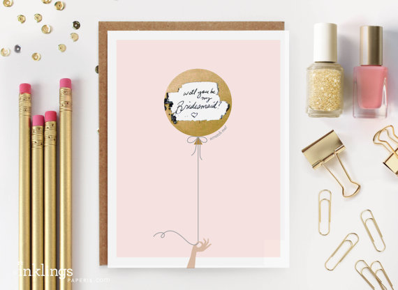 """Hochzeit - Scratch-off """"Will You Be My Bridesmaid? / Maid of Honor?""""  Write-in Invitation // Gold Balloon - New"""