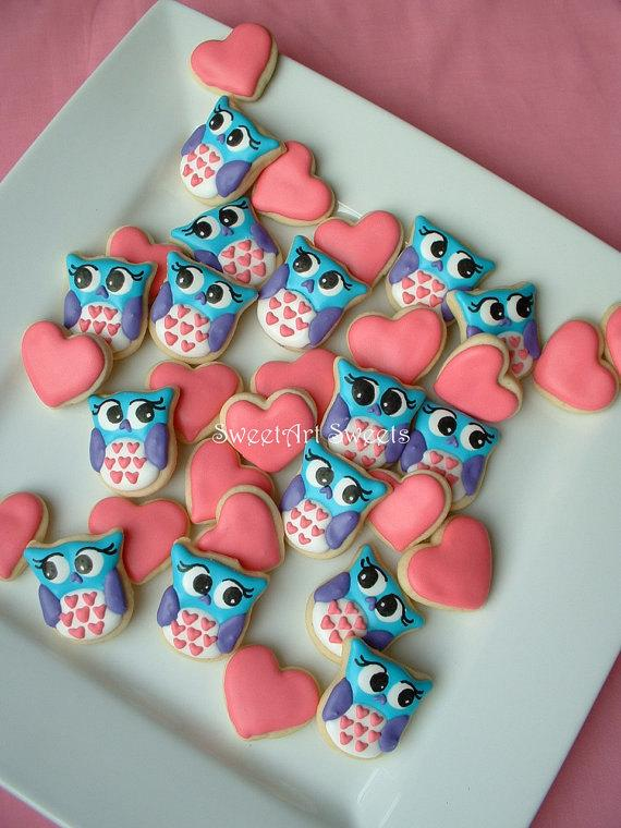 Mariage - Valentines day - Owl cookies and Hearts - Valentine MINI Cookies - 2 dozen - New