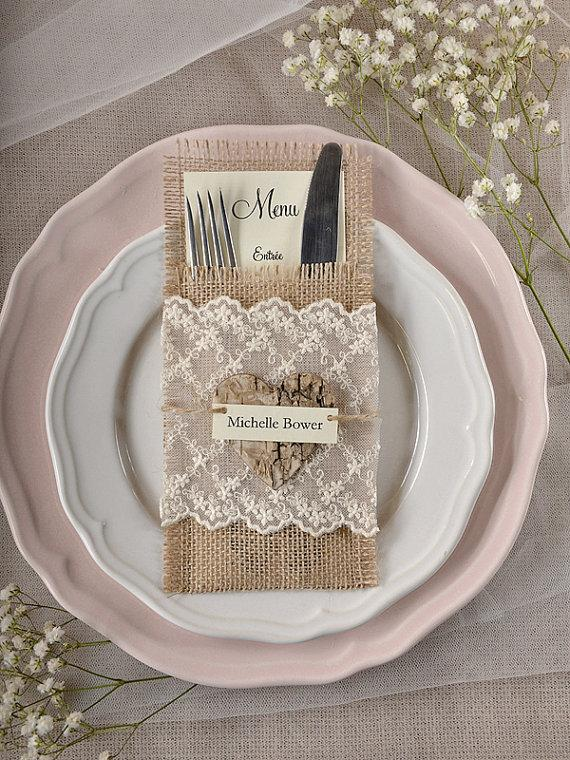 Burlap Silverware Holders 10 Rustic Place Cards Rusticsilverware Wedding Menu Table Set Card New