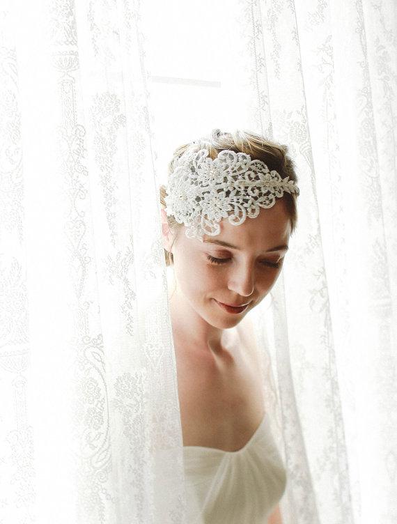 Mariage - Bridal lace headband, ivory wedding headpiece, floral lace headband - style 221 - New