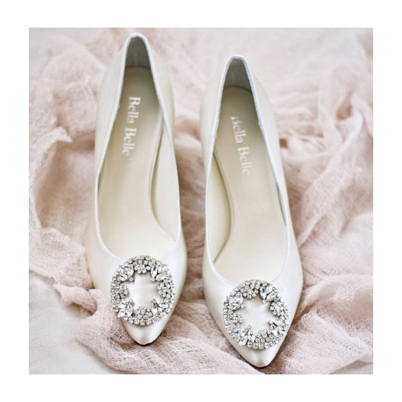 Ivory Or White Silk Wedding Shoes With Vintage Oval Crystal