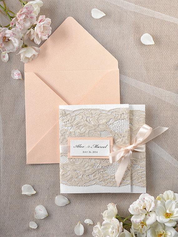 Wedding - Custom listing (20) Peach Wedding Invitations, Lace Coral invitation, Vintage Wedding Invitations, 4lovepolkadots - New