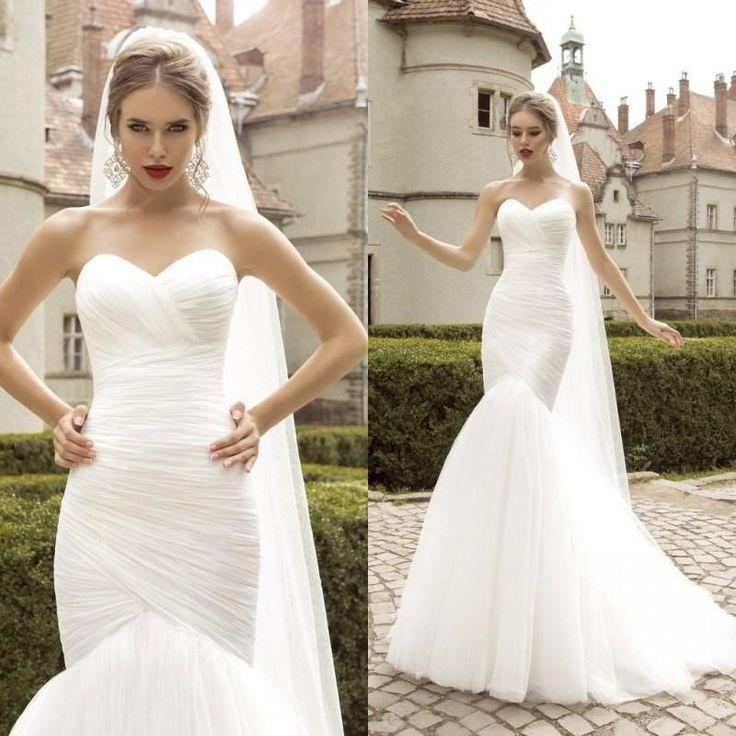 Mermaid Wedding Dress Tulle Bridal Gown Custom Size 2 4 6 8 10 12 14 ...