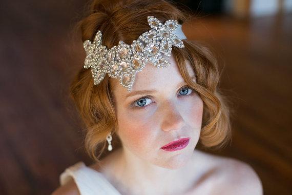Mariage - Rhinestone Floral design Headband - Roaring 20s style diamond headband - Great Gatsby - New