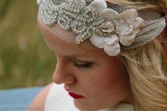 Mariage - Blush & Diamonds Petal Headband -20s style bandeau rhinestone headband - HB203 - New