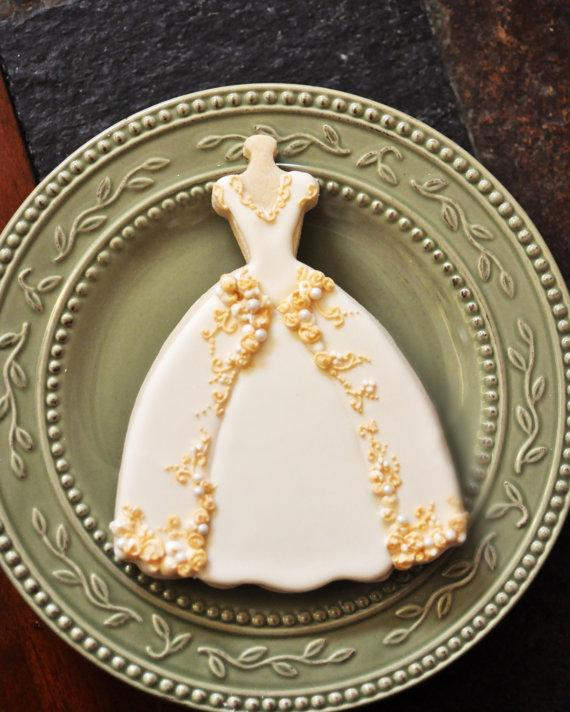 Wedding Dress Cookies- 6 PIECES , Embroidered Full Skirt Wedding ...
