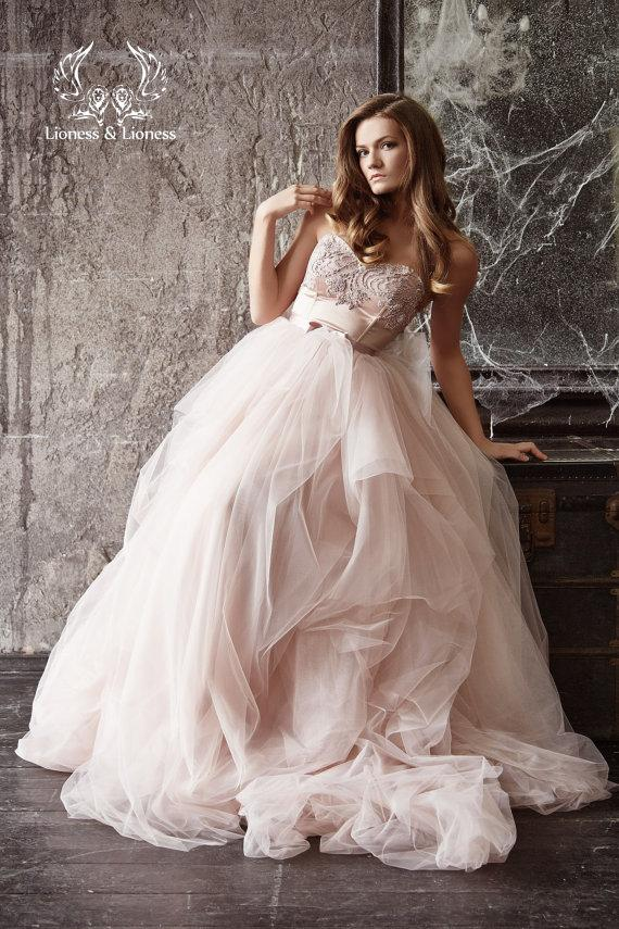 Wedding Dress. Blush Wedding Dress. Blush Bride Dress. Pink Wedding ...