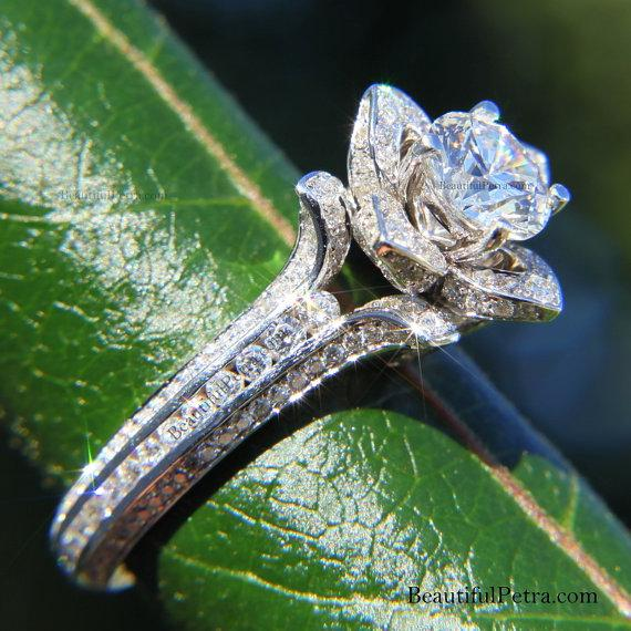 Mariage - Gorgeous UNIQUE Flower Rose Diamond Engagement Ring - EGL certified - 3.11 carat - 14K white gold - custom made - One time only - fl01 - New