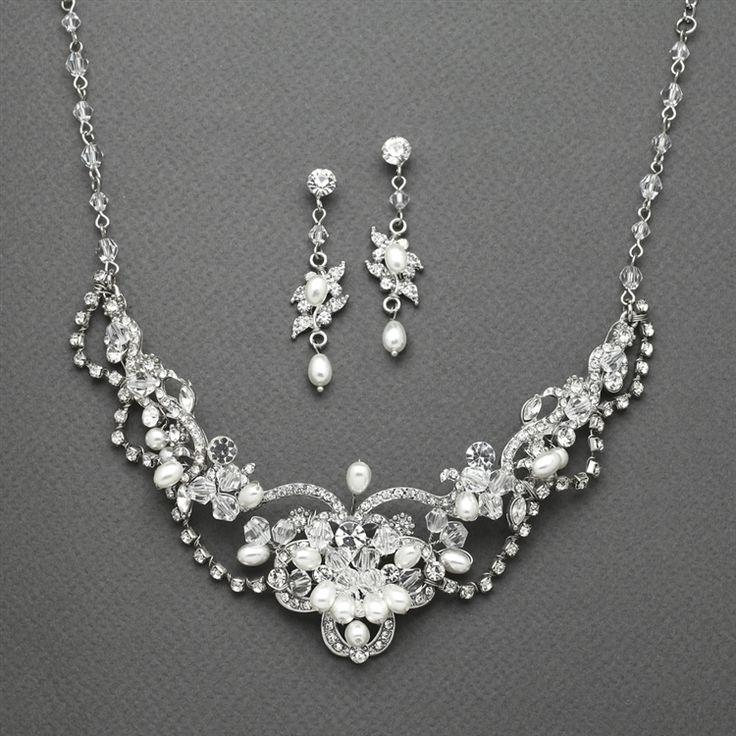 Wedding - Freshwater Pearl And Crystal Wedding Jewelry Mariell 4061S