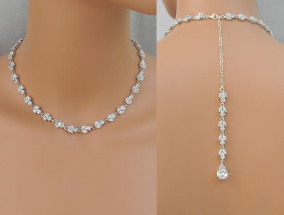 Back drop bridal necklace crystal backdrop necklace for Back necklace for wedding dress