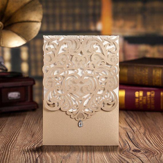 زفاف - 235pcs Gold Lace Wedding Invitation   235 RSVP Cards   115 Red Candy Box / Ship Worldwide 3-5 Days -- Set Of 50 Pcs