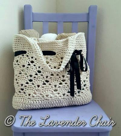 Hochzeit - Vintage Market Tote Crochet Pattern - The Lavender Chair