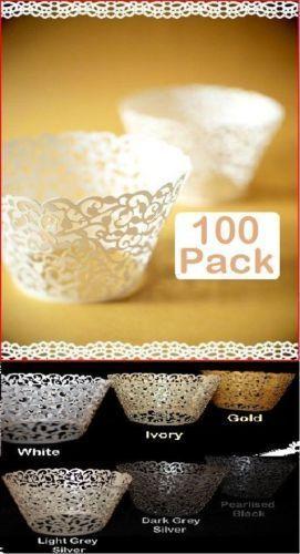 زفاف - 100 X White Pearl Lace Filigree Wedding Cupcake Wrapper Baking Cake Cups Wraps