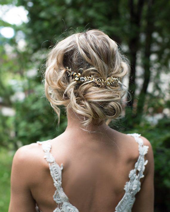 Boho Gold Hair Halo Hair Vine Flower Hair Crown Grecian Gold Hair