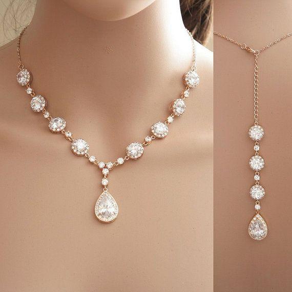Mariage - Rose Gold Backdrop Necklace, Bridal Backdrop Necklace, Wedding Jewelry, Rose Gold Necklace, Crystal Bridal Necklace