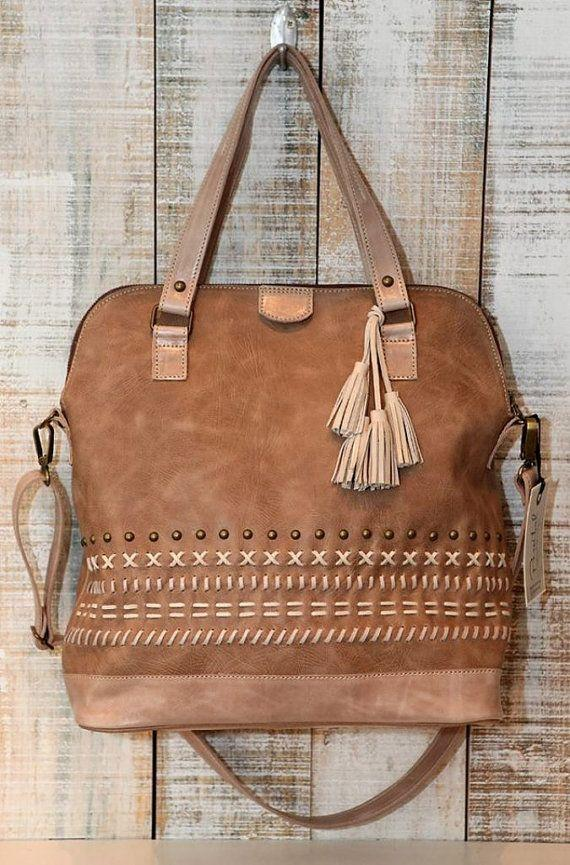 Boda - Leather Bag, Oversized Crossbody Bag, Light Brown Leather Handbag