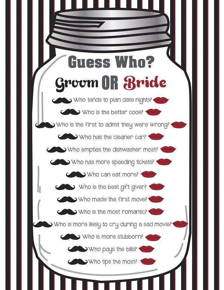 Bridal Shower Game Quot Guess Who Quot Couples Shower Game