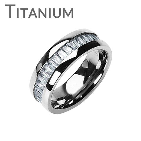 Wedding - Titanium On The Rocks - Impeccable Solid Titanium Comfort Fit Ring with Cubic Zirconias Center Wedding Band