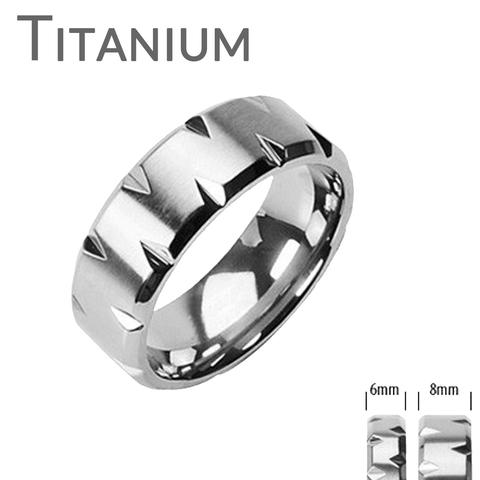 Wedding - Faceted Edges - Modern Style Brushed Titanium Comfort Fit Faceted Edges Ring