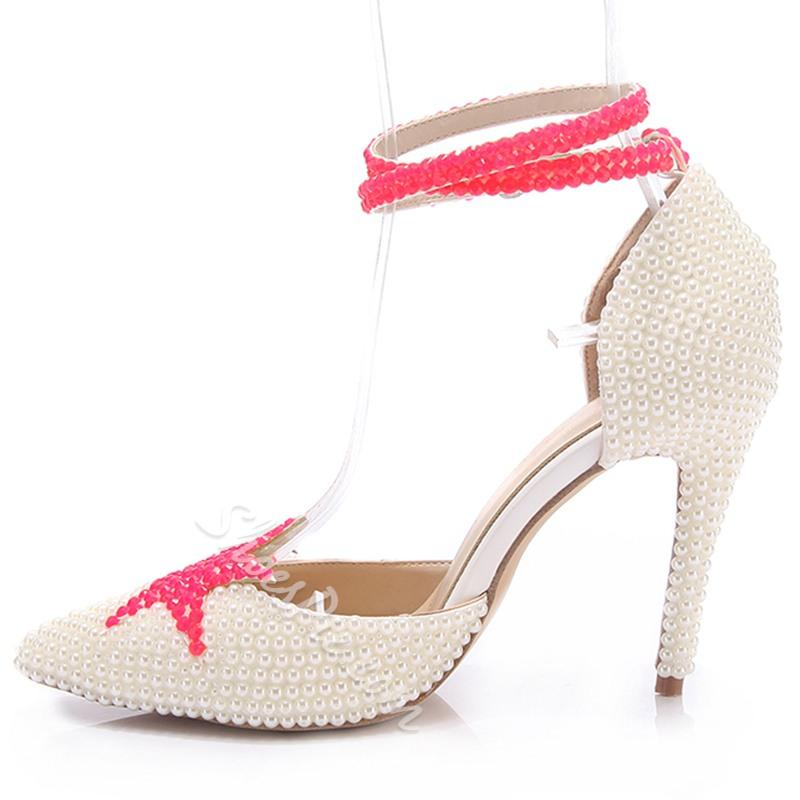 cff787f39bcf Shoespie White Beads Cover Ankle Wrap Wedding Shoes  2615967 - Weddbook