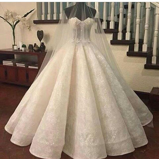 Mariage - 2017 Gorgeous Lace Ruffles Sweetheart-Neck Ball-Gown Wedding Dresses