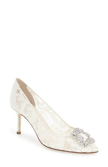 8cbd0b09b20 Manolo Blahnik  Hangisi  Pointy Toe Lace Pump (Women)  2622041 ...