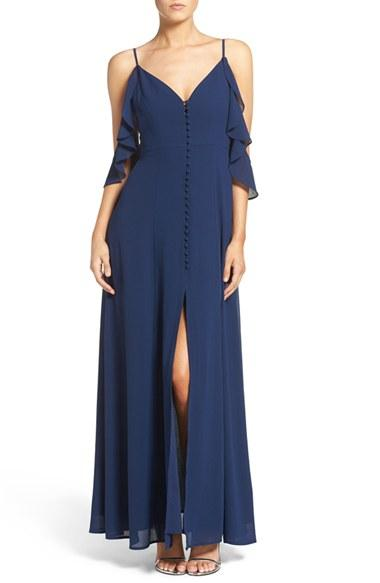 Mariage - Lulus Off the Shoulder Front Slit Chiffon Gown