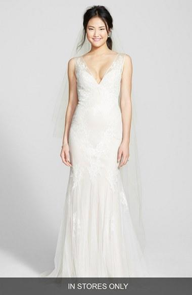 BLISS Monique Lhuillier Chantilly Lace & Tulle Gown (In Stores Only ...
