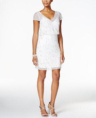 Hochzeit - Adrianna Papell Adrianna Papell Embellished Mesh Blouson Dress