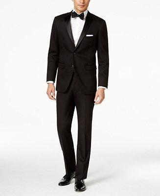 Hochzeit - Perry Ellis Perry Ellis Portfolio Solid Black Slim-Fit Tuxedo