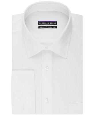Свадьба - Geoffrey Beene Geoffrey Beene Men's Classic-Fit Wrinkle Free Bedford Cord Solid French Cuff Dress Shirt