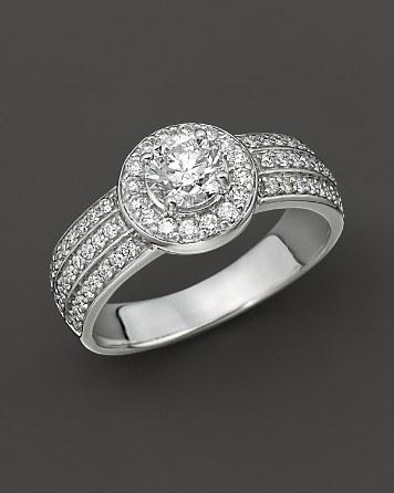 Mariage - Bloomingdale's Diamond Engagement Ring 18 Kt. White Gold, 1.25 ct. t.w.