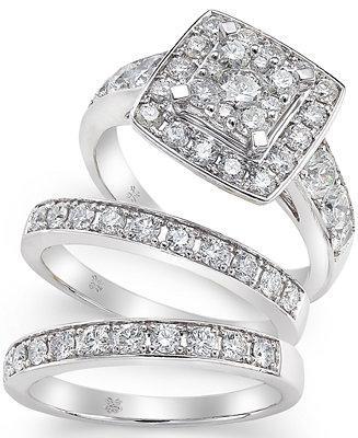 Hochzeit - Macy's Diamond Engagement Ring Bridal Set (2 ct. t.w.) in 14k White Gold