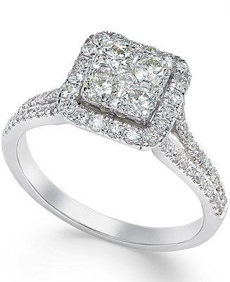 Mariage - Macy's Square Diamond Cluster Engagement Ring (3/4 ct. t.w.) in 14k White Gold