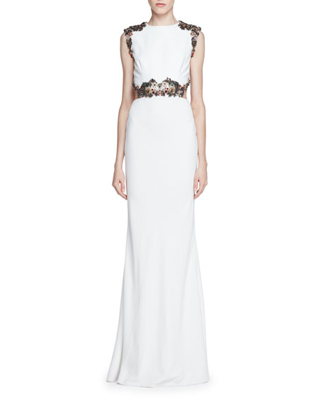 زفاف - Embellished Open-Back Column Gown, Ivory