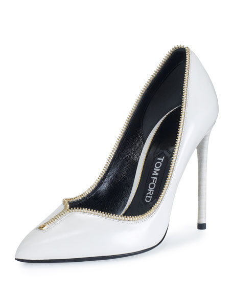 Свадьба - Zipper-Trim Leather 105mm Pump, White