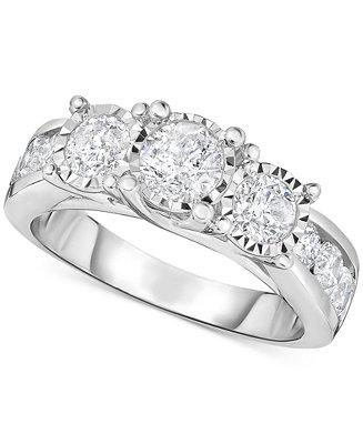 Свадьба - TruMiracle TruMiracle® Diamond Three-Stone Engagement Ring (2 ct. t.w.) in 14k White Gold