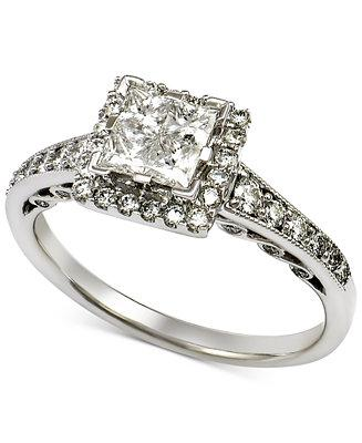 Mariage - Macy's Diamond Quad Halo Engagement Ring (1 ct. t.w.) in 14k White Gold