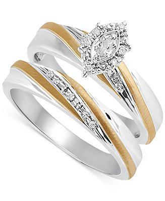 Mariage - Beautiful Beginnings Beautiful Beginnings Diamond Accent Engagement Bridal Set in 14k Gold and Sterling Silver