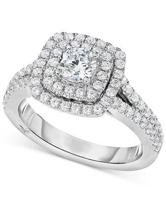 Mariage - Marchesa Marchesa Certified Diamond Square Halo Engagement Ring (1-1/4 ct. t.w.) in 18k White Gold