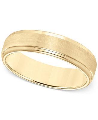زفاف - Macy's Comfort-Fit 6mm Wedding Band in Yellow Tungsten Carbide