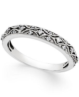 Mariage - Macy's Diamond Art Deco Wedding Band (1/10 ct. t.w.) in 14k White Gold