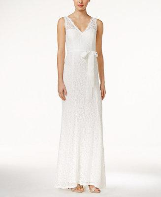Hochzeit - Adrianna Papell Adrianna Papell Lace V-Neck Sash Gown