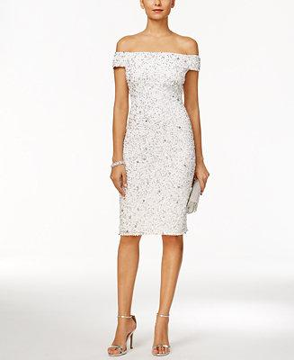 Mariage - Adrianna Papell Adrianna Papell Off-The-Shoulder Beaded Sheath Dress