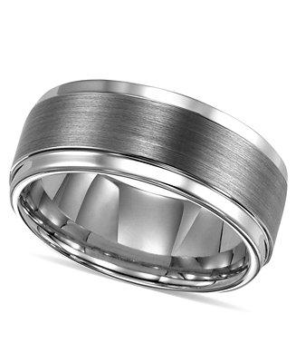 Hochzeit - Triton Men's Ring, Tungsten Carbide Comfort Fit Wedding Band