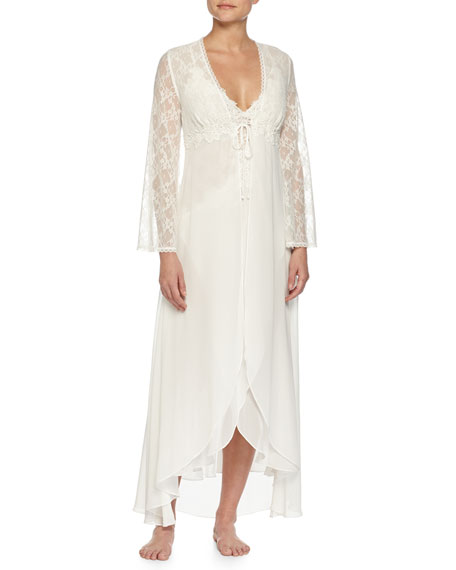 Wedding - Lace-Sleeve Long Robe, Ivory