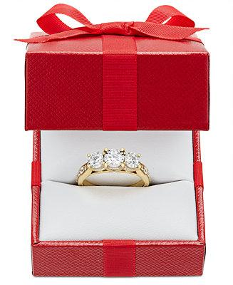Wedding - TruMiracle TruMiracle® Diamond Three-Stone Ring (1 ct. t.w.) in 14k Gold or White Gold