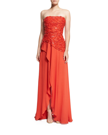 Wedding - Beaded Strapless Wrap Gown, Tangerine